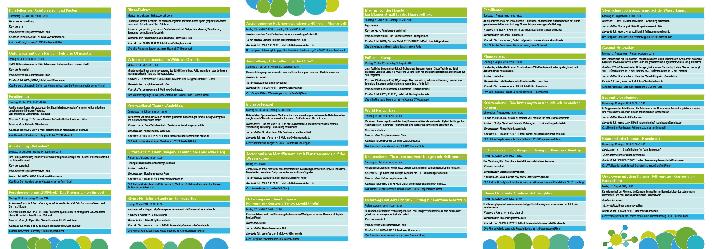 Programmauszug  der Bildungsangebote der Netzwerkpartner  Juli bis September 2018