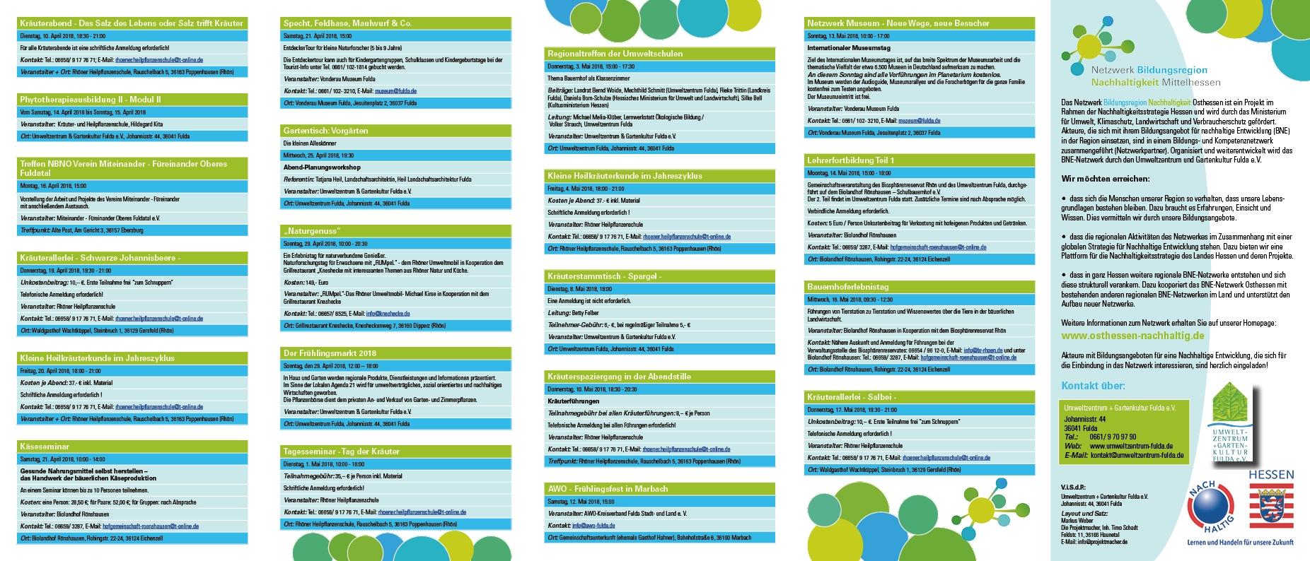 Flyer Netzwerk Bildungsregion Nachhaltigkeit Osthessen Seite 2
